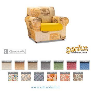 Genius 4D VISION Anti Stain Elasticized Armchair Cover VISION Biancaluna