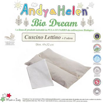 BIO DREAM Spelt Chaff Pillow for Cot Pure Cotton Fabric