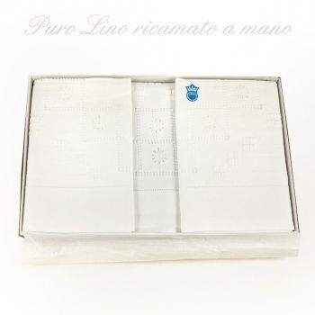 PURO LINO 06407 Parure Lenzuola Ricamate a mano cm 270X290