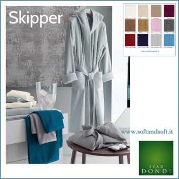 SKIPPER Jacquard Hoodded Bathrobe SVAD DONDI