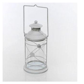 Lanterna in metallo Bianco Laccato cm 18H