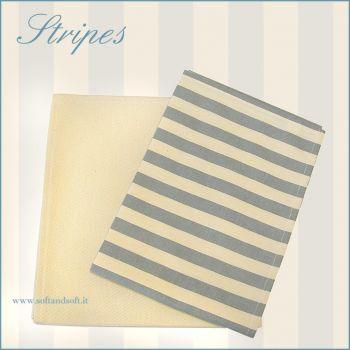 strofinaci da cucina beige righe azzurro carta da zucchero