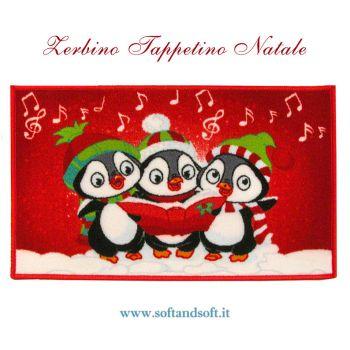 Tappetino zerbino Natalizio da interno o esterno, con pinguini canterini