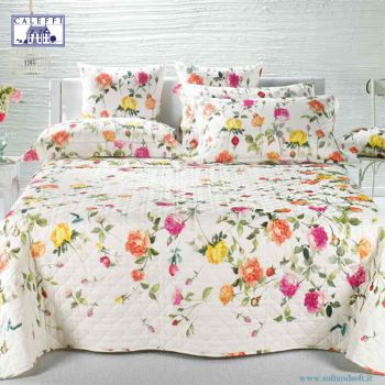 ITALIAN GARDEN Spring Quilted Bedcover for double Bed by Caleffi