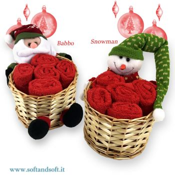 NOEL set 5 lavette puro cotone + cestino Natale