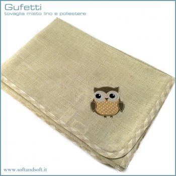OWL Tablecloth for 12 persons in Flax and Polyester