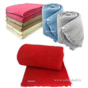 MOHAIR coperta lana/plaid misura MATRIMONIALE cm 200x240 tinta unita
