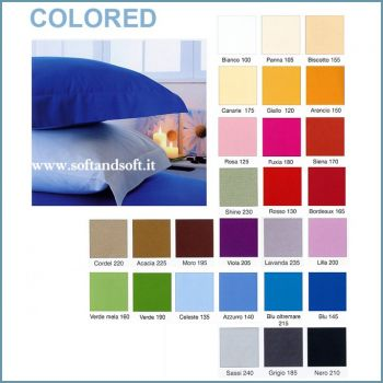 COLORED Plain-coloured Bottom Sheet with Corners for Double Beds
