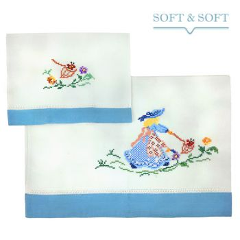 RICAMO handtowels set 1+1 in pure cotton light blue