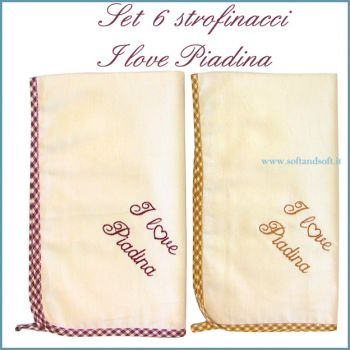 I LOVE PIADINA Embroidered Kitchen Towel Set 6 Pieces