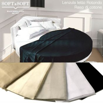 ROTONDO SATIN Sheet Set for ROUND Bed - Pure Cotton 4 Pillowcases