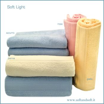SOFT Light Bath Towel cm 100x150 pink jellow cream blue