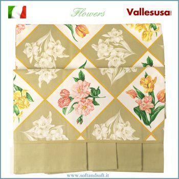 FLOWERS Tovaglia per 8 con tovaglioli cm 150x220 Vallesusa Naturale 524945