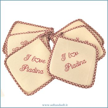 I LOVE PIADINA Embroidered Kitchen Potholders Set 6 Pieces