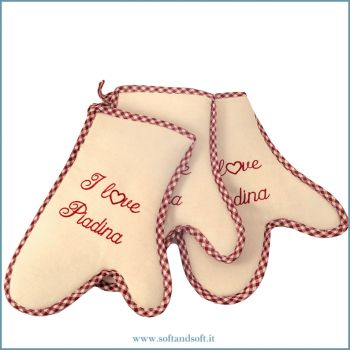 I LOVE PIADINA Embroidered Kitchen Oven Mitt Set 3 Pieces bordeaux