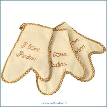 I LOVE PIADINA Embroidered Kitchen Oven Mitt Set 3 Pieces bordeaux (copia)