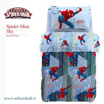 SPIDERMAN SKY Trapunta letto singolo Disney Caleffi Microfibra