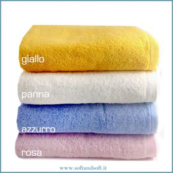 SOFFY Bath Towel cm 100x150 pink yellow cream blue gr. 500/sm