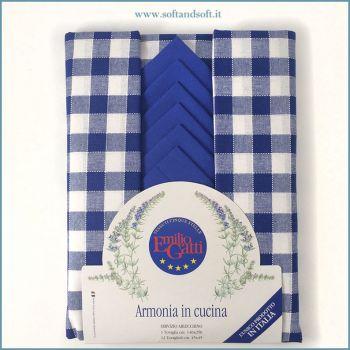 Lario Tovaglia a quadretti blu per 12 con Tovaglioli Gatti Emilio cm 140x250