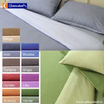 Copripiumino double face per letto singolo tinta unita, in diversi colori grigio, marrone, azzurro, rosso, lilla, arancio, verde