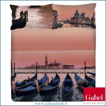 Copripiumino matrimoniale stampa digitale Venezia Gondole a fondo rosa tramonto Gabel