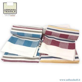 TEVERE 6 Strofinacci cm 60×70 Puro Cotone Armonia Tessile Made in Italy