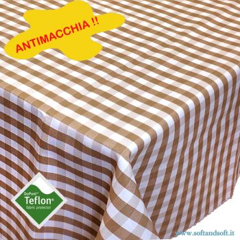 BORA Table cloth for 6 cm 140x180 check pattern no stain TEFLON - Dove