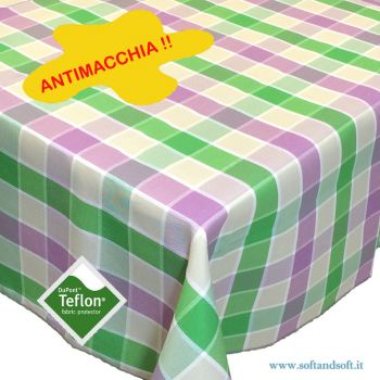 BORA Table cloth for 6 cm 140x180 check pattern no stain TEFLON lilac and green