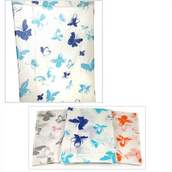 BUTTERFLIES pair of curtains with laces cm 60x240 + STICKS