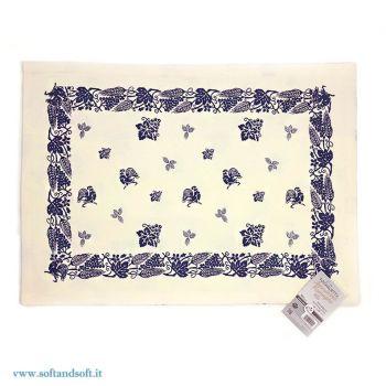 FAETINA Tovaglietta americana cm 33x48 stampa romagnola blu