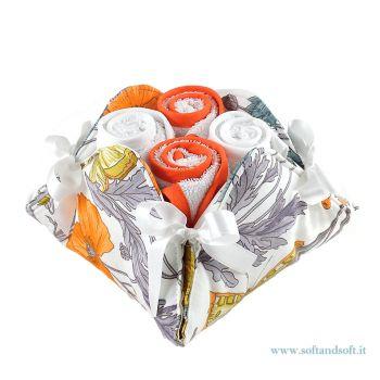 LAVETTE Papavero morbida spugna di puro cotone set 4 pezzi + cestino