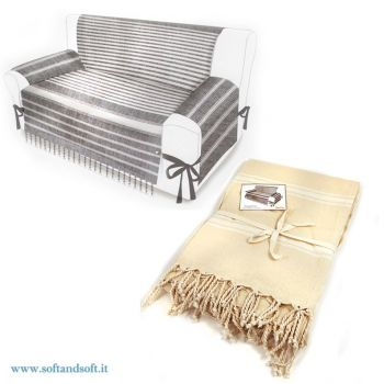 Armchair cover fabric Fouta with fringes