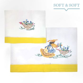 RICAMO handtowels set 1+1 in pure cotton Yellow