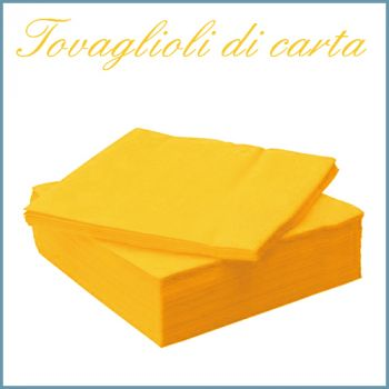 TOVAGLIOLI DI CARTA 33X33 2 VELI (Pacchi da 50 Tovaglioli) GIALLO