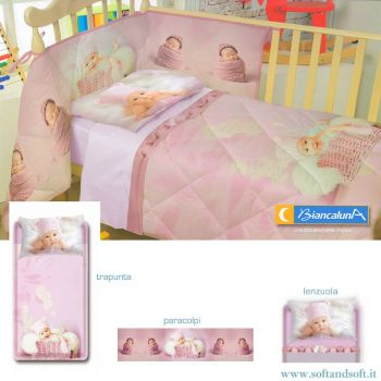 KANDY Completo lenzuola per lettino Biancaluna Miss Terry Nursery