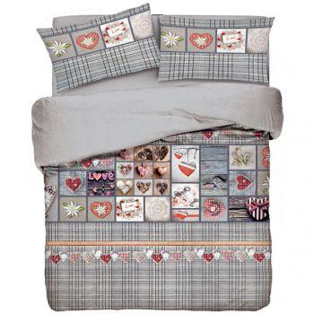 Copripiumino letto singolo a fondo grigio a quadretti con disegni cuori tirolesi o chabby