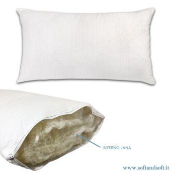 LANA Guanciale / Cuscino da letto imbottitura in Misto Lana cm 50x80