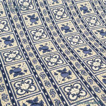 LIMONI tessuto arredo cm 140 TELA FINISSIMA limone blu  685037