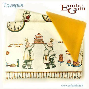 LOIRA Pasticceria Tovaglia per 6 con tovaglioli Gatti Emilio cm 150x180