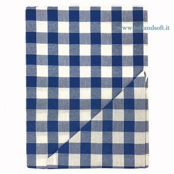 CAMPAGNOLA Tovaglia a quadretti Binco e Blu per 6 con Tovaglioli cm 140x180