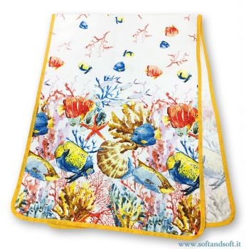 VINTAGE  Pure Cotton Runner cm 140x50 Printed Fishes