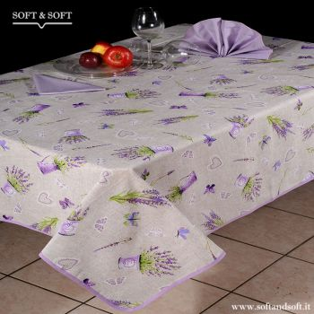LAVANDA E FARFALLE Rectangular Tablecloat with 6 napkins cm140x180