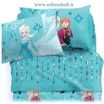 FROZEN CRISTAL Sheets for three-quarter beds Flowers Disney CALEFFI