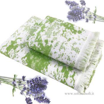 AROMATHERAPY Bath Towel Set 1+1 Pure Cotton LAVANDER AROMA