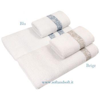 VIVALDI Set Asciugamani 1+1 in Spugna di Puro Cotone Balza Jacquard