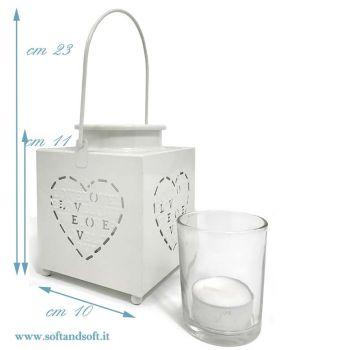 Lanterna Porta candela in metallo Bianco Laccato cm 11 H