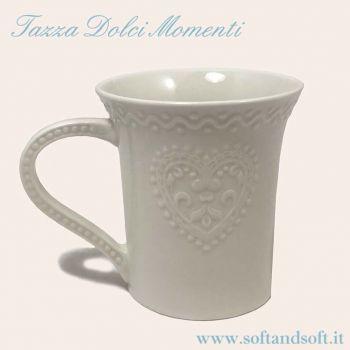 Tazza bianca in ceramica per colazione te tisane cioccolate