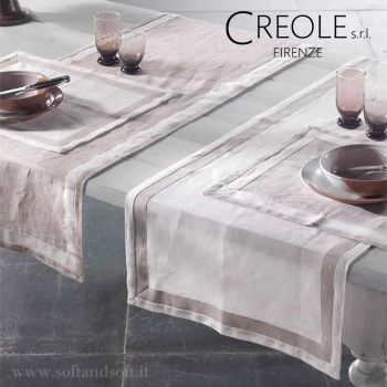 LINO BICOLORE Runner Tablecloth in Pure Linen cm 52x140 CREOLE