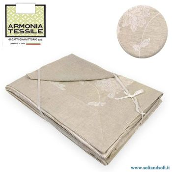 ELITE Table Cloth 12 + Napkins Linen Blend by Armonia Tessile