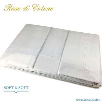 PURO RASO Completo lenzuola letto Singolo in RASO di Puro Cotone Bianco